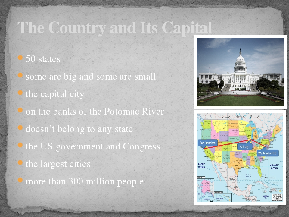 50 states some are big and some are small the capital city on the banks of th...