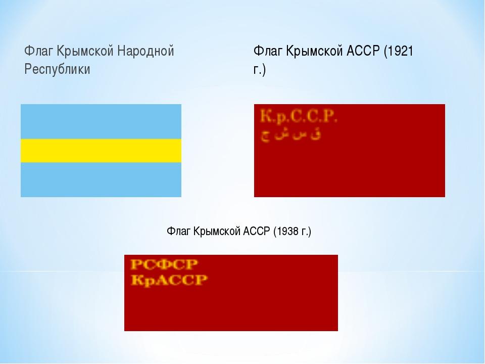 Флаг Крымской Народной Республики Флаг Крымской АССР (1921 г.) Флаг Крымской...