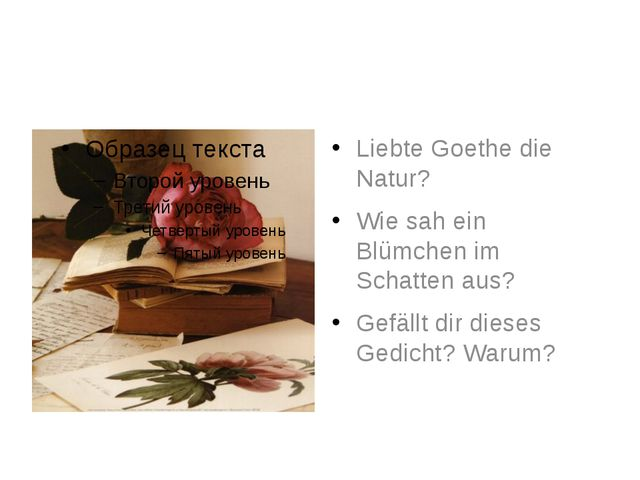 Liebte Goethe die Natur? Wie sah ein Blümchen im Schatten aus? Gefällt dir d...