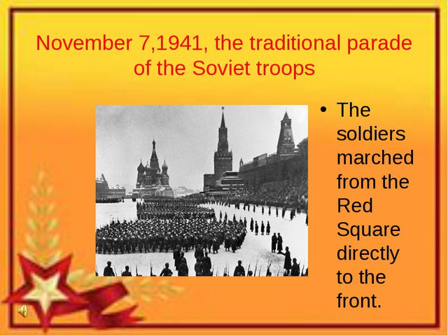 November 7,1941, the traditional parade of the Soviet troops The soldiers mar...
