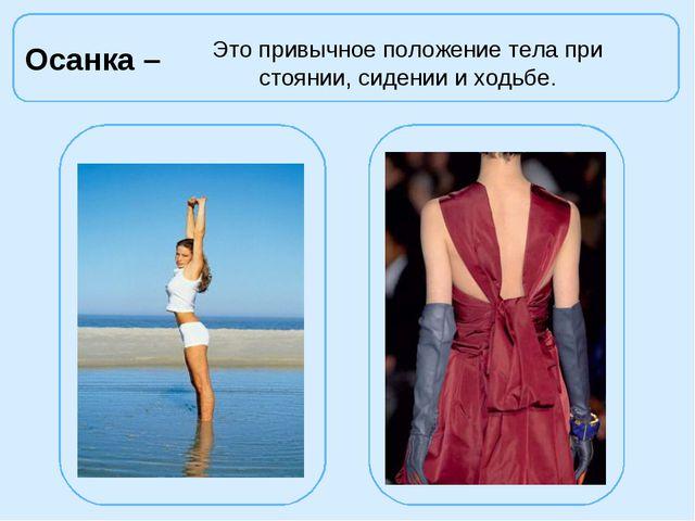 Осанка – Это привычное положение тела при стоянии, сидении и ходьбе.