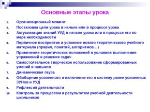 Основные этапы урока Организационный момент Постановка цели урока в начале ил