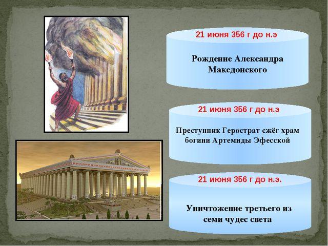21 июня 356 г до н.э Рождение Александра Македонского Преступник Герострат сж...