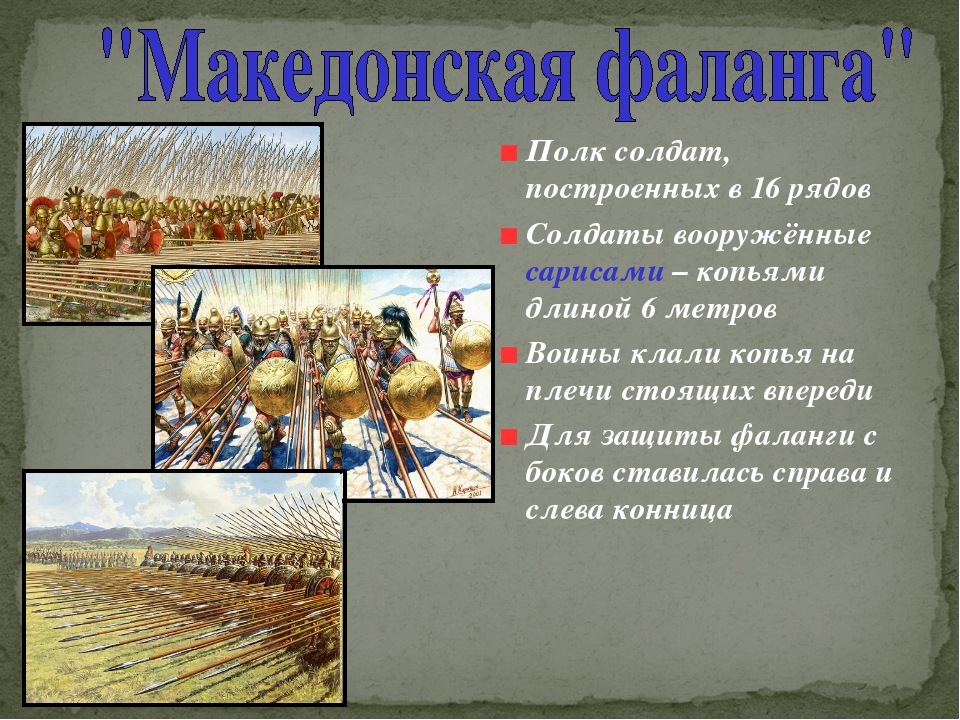 Полк солдат, построенных в 16 рядов Солдаты вооружённые сарисами – копьями дл...