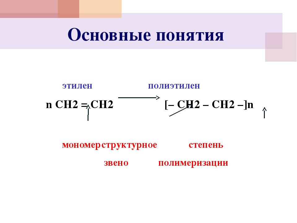 Основные понятия  этилен полиэтилен n СН2 = СН2 [– СН2 – СН2 –]n...