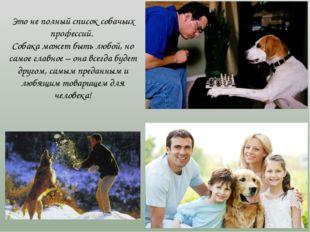 Это не полный список собачьих профессий. Собака может быть любой, но самое г