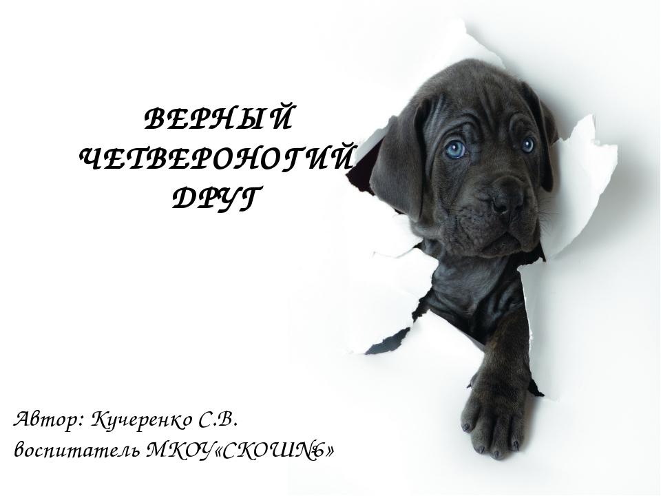 ВЕРНЫЙ ЧЕТВЕРОНОГИЙ ДРУГ Автор: Кучеренко С.В. воспитатель МКОУ«СКОШ№6»