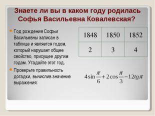 Знаете ли вы в каком году родилась Софья Васильевна Ковалевская? Год рождения