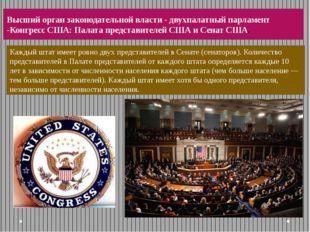 Высший орган законодательной власти - двухпалатныйпарламент -Конгресс США:П
