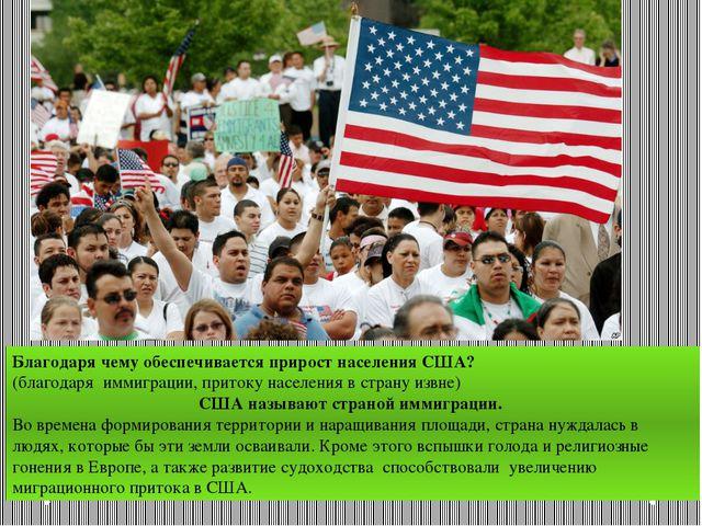 Благодаря чему обеспечивается прирост населения США? (благодаря иммиграции, п...