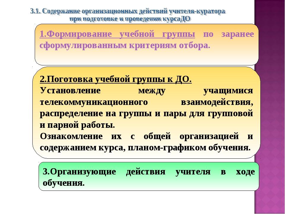 3.Организующие действия учителя в ходе обучения. 1.Формирование учебной групп...