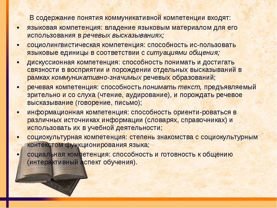 В содержание понятия коммуникативной компетенции входят: языковая компетенци...