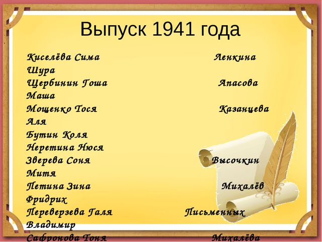 Выпуск 1941 года Киселёва Сима Ленкина Шура Щербинин Гоша Апасова Маша Мощенк...