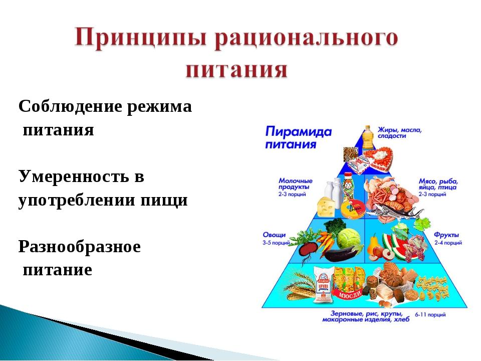 Соблюдение режима питания Умеренность в употреблении пищи Разнообразное пита...