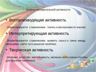 Уровни познавательной активности Воспроизводящая активность (Характеризуется