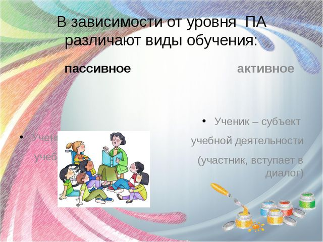 В зависимости от уровня ПА различают виды обучения: пассивное Ученик – объект...