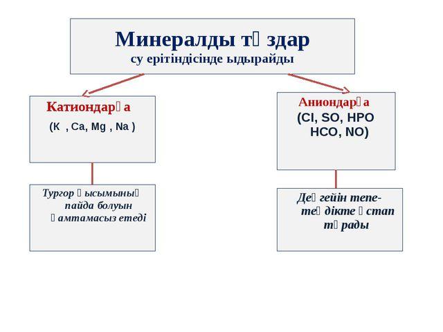 Минералды тұздар су ерітіндісінде ыдырайды Катиондарға (К , Са, Мg , Na ) Ани...