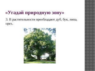 «Угадай природную зону» 3. В растительности преобладают дуб, бук, липа, орех.