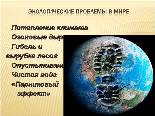 Потепление климата Озоновые дыры Гибель и вырубка лесов Опустынивание Чистая...
