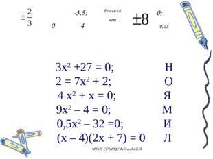3х2 +27 = 0; Н 2 = 7х2 + 2; О 4 х2 + х = 0; Я 9х2 – 4 = 0; М 0,5