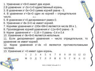1. Уравнение x2+9=0 имеет два корня. 2.В уравнении x2-2x+1=0 единственный кор