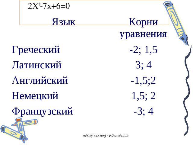 2X2-7x+6=0 МБОУ СОШ№17 Федотова.Е.А . ЯзыкКорни уравнения Греческий -2; 1,...