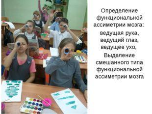 Определение функциональной ассиметрии мозга: ведущая рука, ведущий глаз, веду