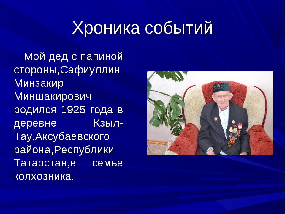 Хроника событий Мой дед с папиной стороны,Сафиуллин Минзакир Миншакирович род...