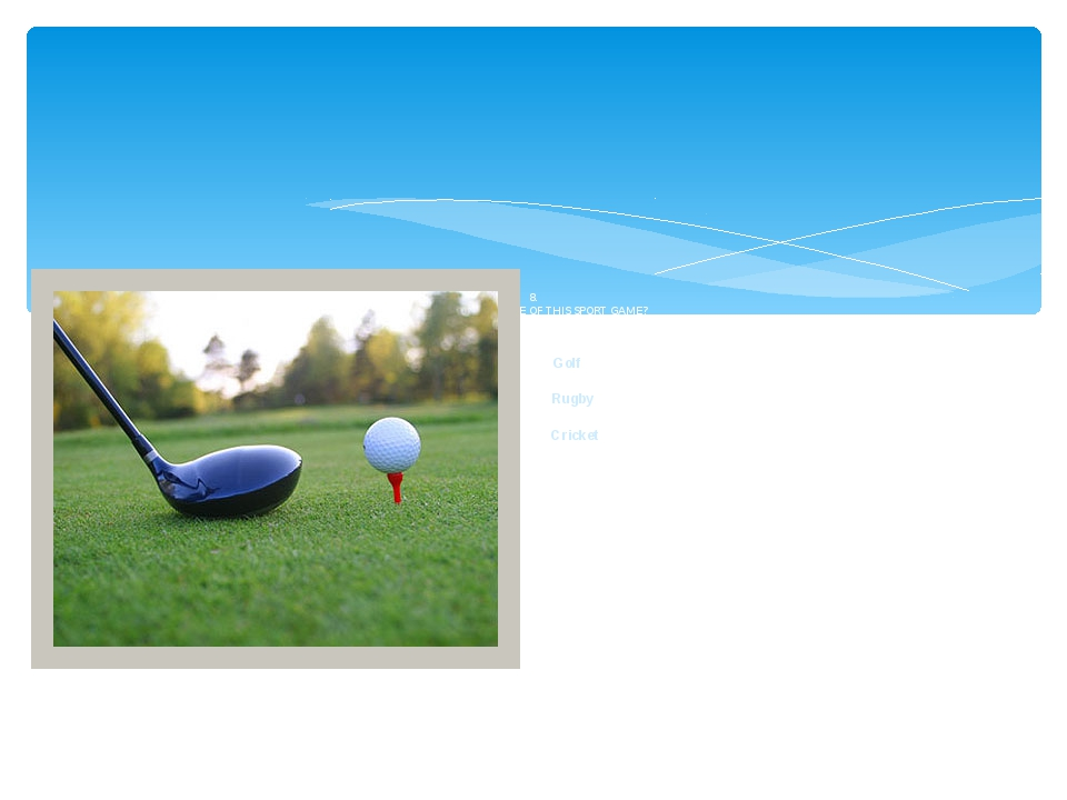 8. WHAT IS THE NAME OF THIS SPORT GAME? Golf Rugby Cricket