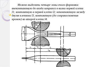 Можно выделить четыре зоны очага формовки: внеконтактную до входа штрипса в в