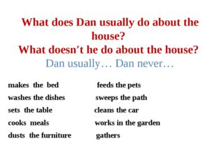 What does Dan usually do about the house? What doesn′t he do about the house?