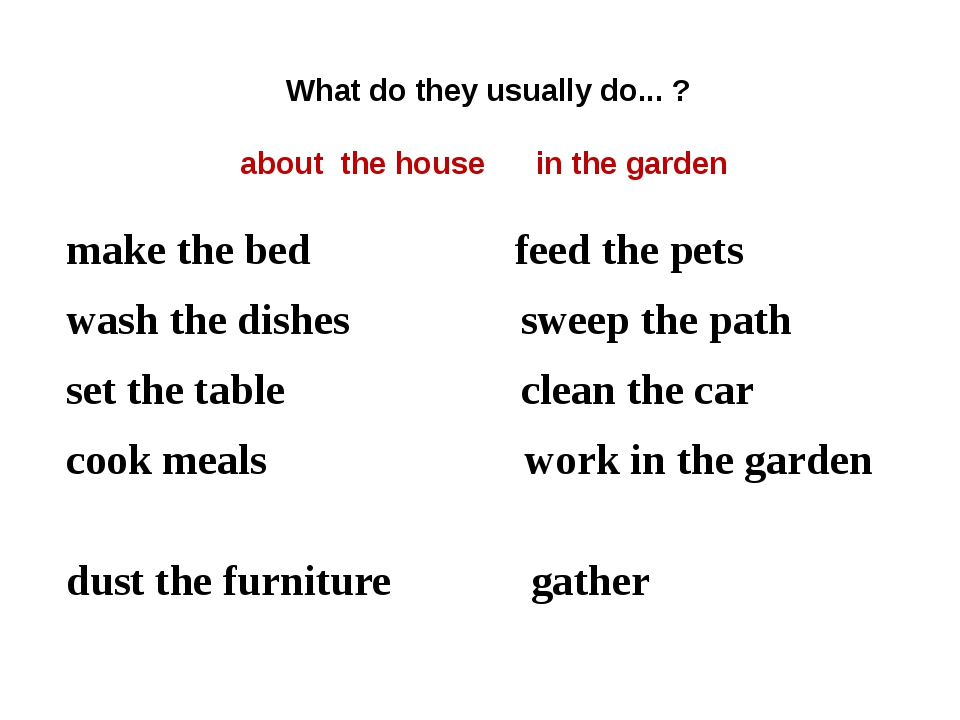 What do they usually do... ? about the house in the garden make the bed feed...