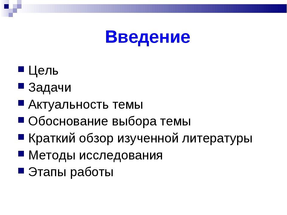 Введение Цель Задачи Актуальность темы Обоснование выбора темы Краткий обзор...