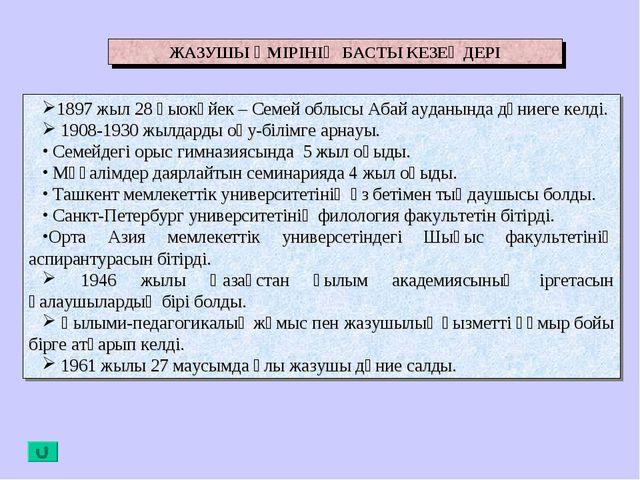 ЖАЗУШЫ ӨМІРІНІҢ БАСТЫ КЕЗЕҢДЕРІ 1897 жыл 28 қыокүйек – Семей облысы Абай ауда...