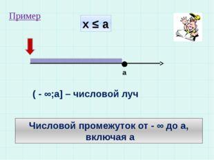 х ≤ а а ( - ∞;а] – числовой луч Числовой промежуток от - ∞ до а, включая а Пр