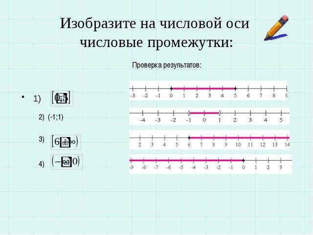 Изобразите на числовой оси числовые промежутки: 1) 2) (-1;1) 3) 4) Проверка р...