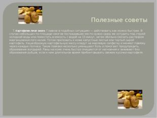 Полезные советы 7. Картофелем лечат ожоги. Главное в подобных ситуациях — дей