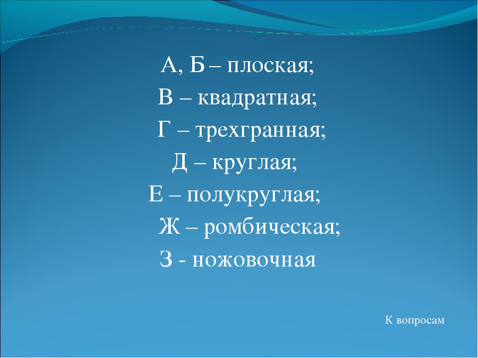 А, Б – плоская; В – квадратная; Г – трехгранная; Д – круглая; Е – полукругла...
