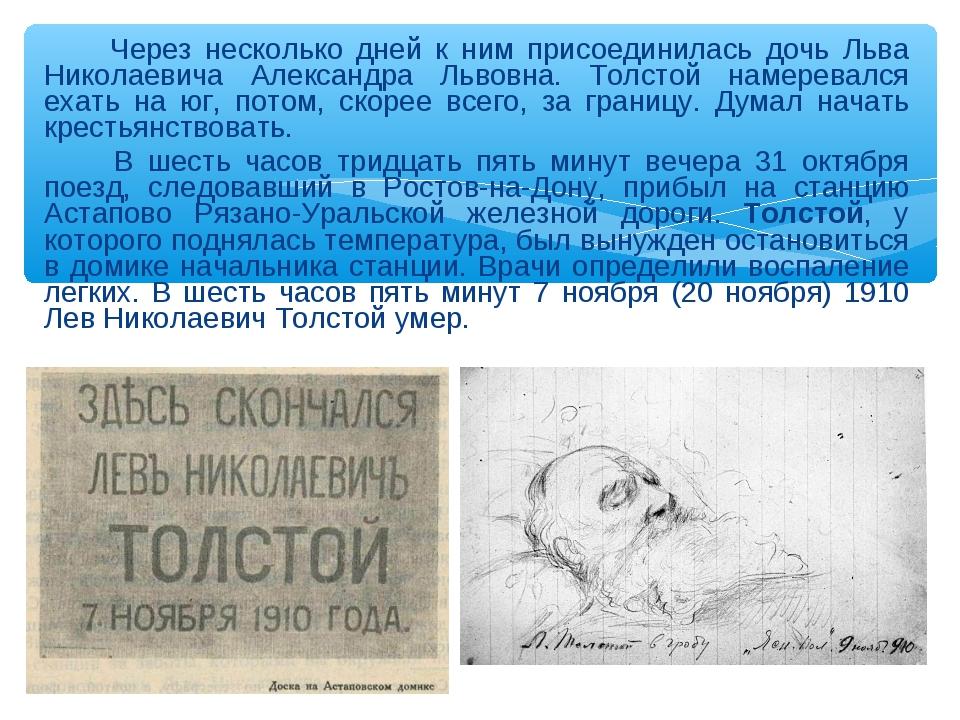 Через несколько дней к ним присоединилась дочь Льва Николаевича Александра Л...