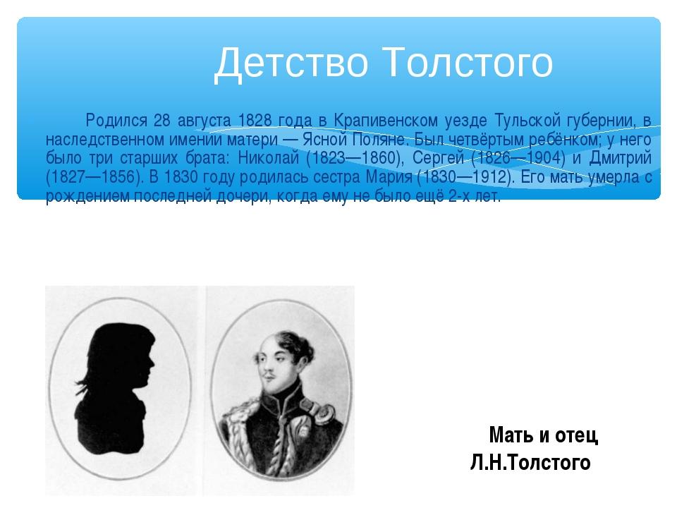 Родился 28 августа 1828 года в Крапивенском уезде Тульской губернии, в насле...