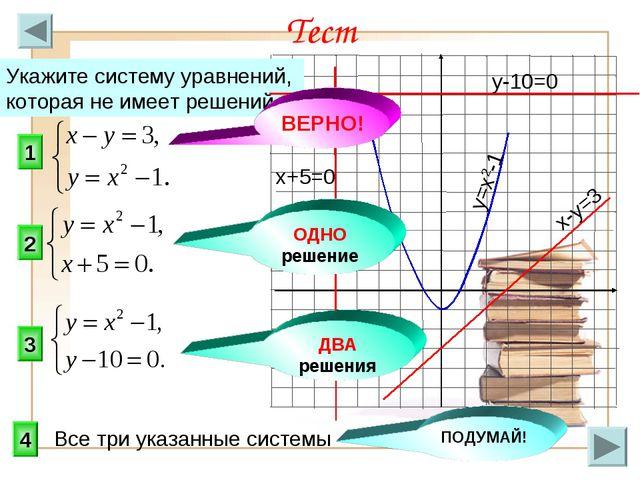 1 3 2 Тест Укажите систему уравнений, которая не имеет решений. 4 ОДНО решени...