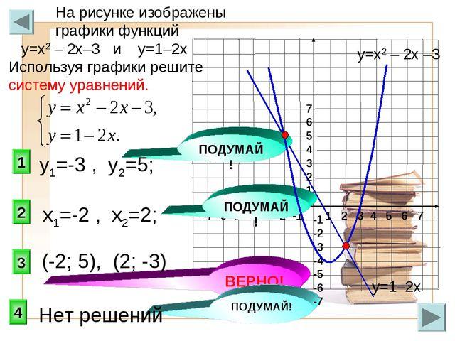 3 1 2 На рисунке изображены графики функций у=х2 – 2х–3 и у=1–2х Используя гр...
