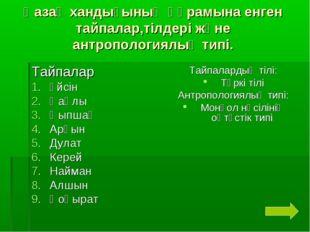 Қазақ хандығының құрамына енген тайпалар,тілдері және антропологиялық типі. Т