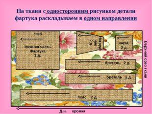 На ткани с односторонним рисунком детали фартука раскладываем в одном направл
