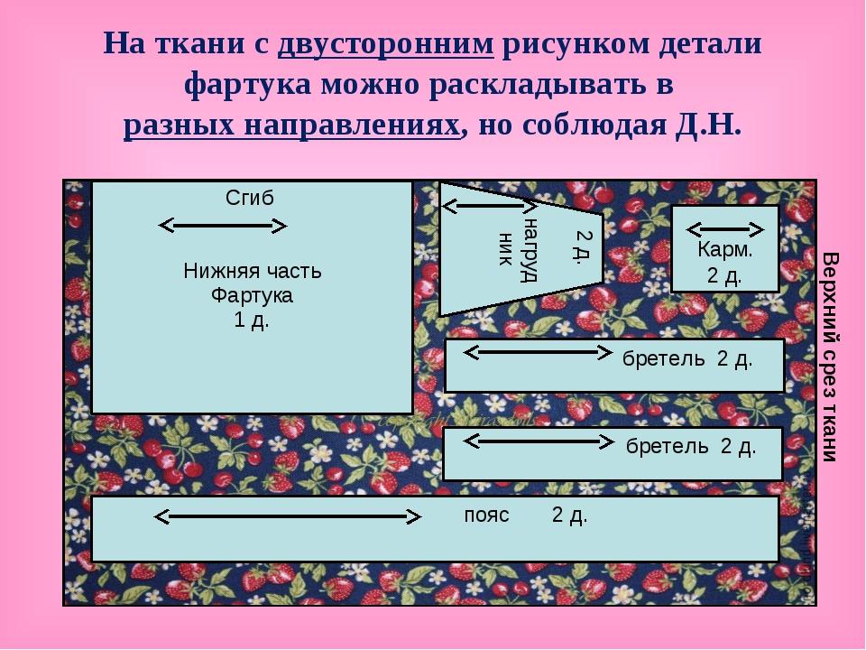 На ткани с двусторонним рисунком детали фартука можно раскладывать в разных н...