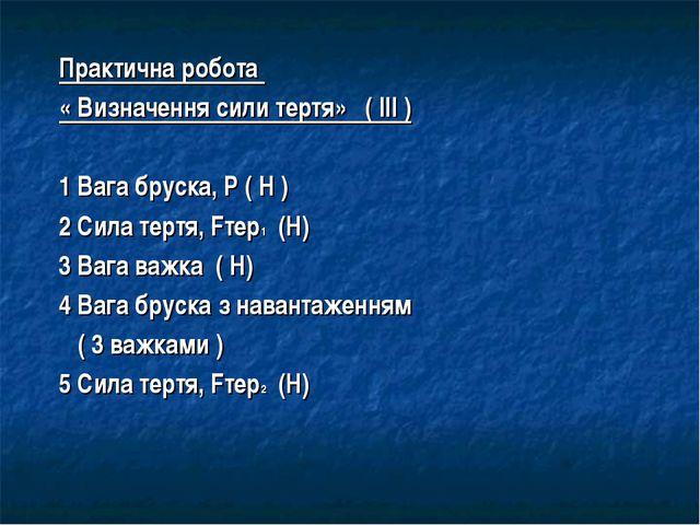 Практична робота « Визначення сили тертя» ( ІІІ ) 1 Вага бруска, Р ( Н ) 2 Си...