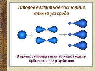 Второе валентное состояние атома углерода В процесс гибридизации вступают одн