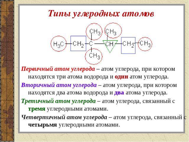 Типы углеродных атомов Первичный атом углерода – атом углерода, при котором н...