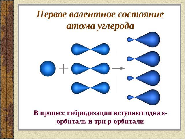 Первое валентное состояние атома углерода В процесс гибридизации вступают одн...
