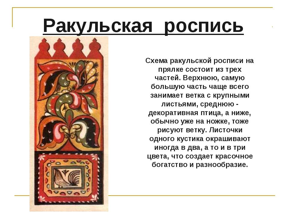 Ракульская роспись Схема ракульской росписи на прялке состоит из трех частей....